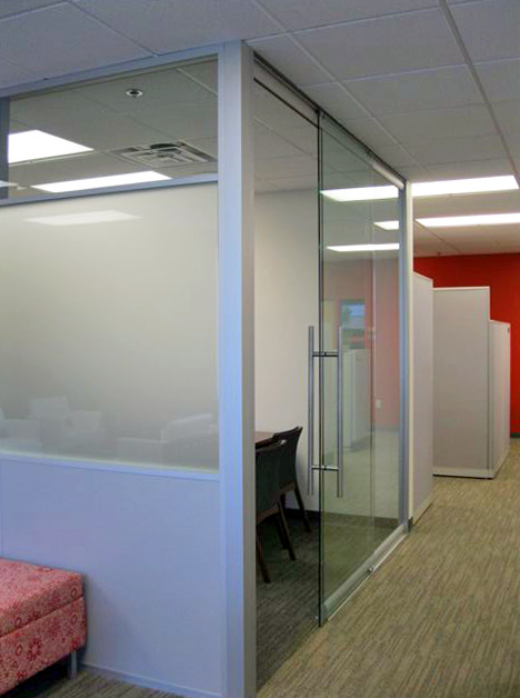 Sliding glass door (externally mounted) office front