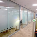 Glass offices with applied frosted privacy glass film
