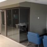 View Series Glass Walls University Student Lounge Brownstone Finish