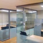 Full height open corner glass University offices