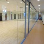 Seamless glass multipurpose room - center mount glass walls