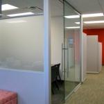 Sliding glass door (externally mounted) office front