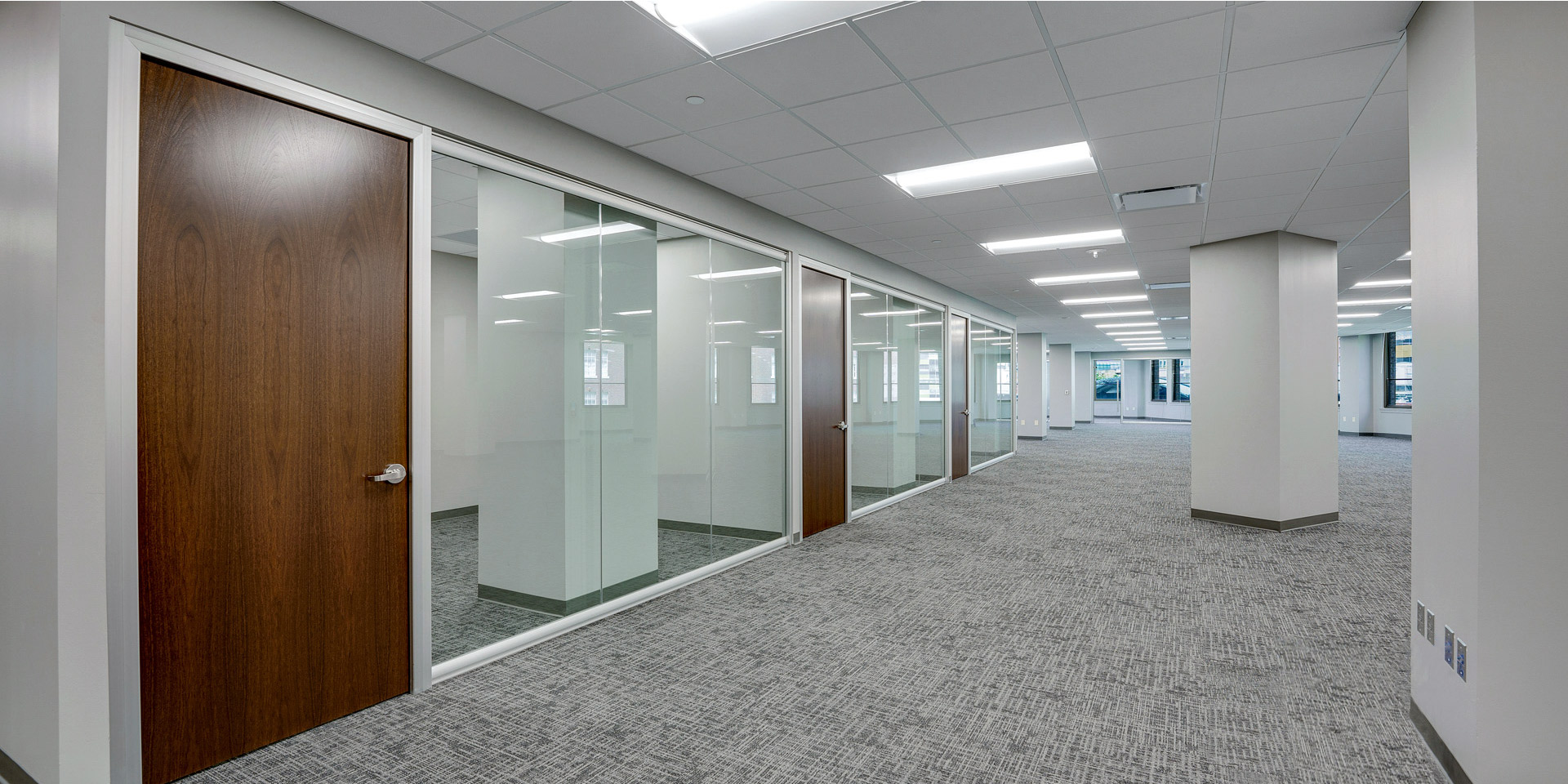 View Series Floor to Ceiling Glass Wall Offices with Wood Doors