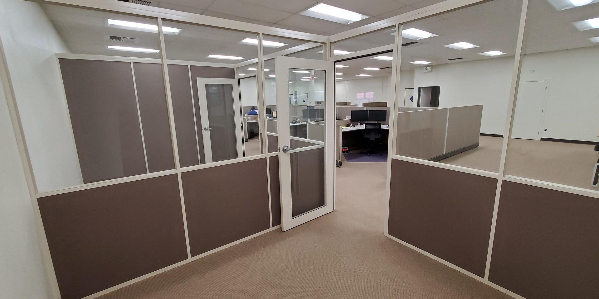 NxtWall Freestanding Flex Series Demountable Fabric/Glass Wall Offices